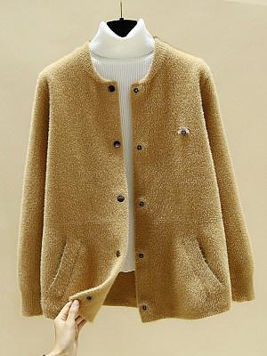 Fashion Pure-color Mink Velvet Coat, 10679753