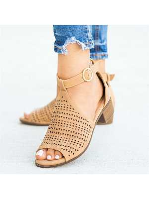 Fish-mouth hollow low-heeled sandals, 11144838