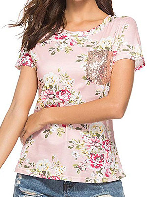 Round Neck Patch Pocket Floral Printed Short Sleeve T-Shirt, 11280157