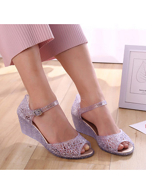 Women's Casual Solid Color Jelly Buckled Sandals