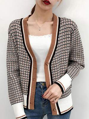 Casual V Neck Plaid Long Sleeve Single-breasted Knit Cardigan, 10333213