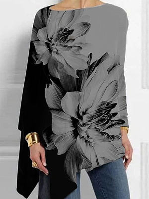 Casual round neck long sleeve printed T-shirt top, 25361206