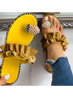 Women's Casual Pineapple Decorative Ruffle Sandals фото