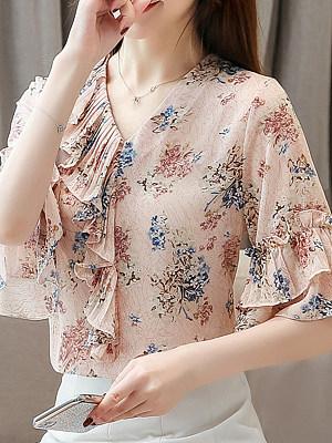 V Neck Floral Bell Sleeve Blouse, 11344537
