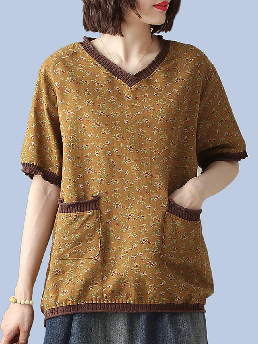 BerryLook V Neck Floral Print Short Sleeve T-shirt