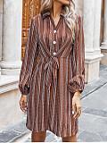 Image of Striped V-Neck Long-Sleeved Waist Dress