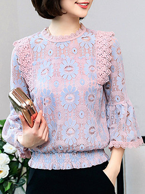 Round Neck Patchwork Bell Sleeve Blouse, 11379388