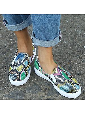Sportive style ladies snakeskin flat loafers sneakers, 10205801