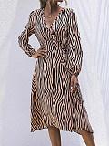 Image of Long Sleeve V-Neck Striped Dress