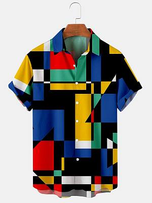 Mens Blue Colorblock Print Casual Summer Shirts