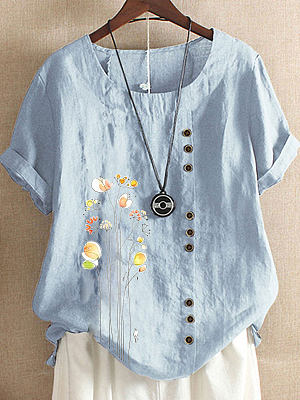 Berrylook coupon: Floral Printed Cotton And Linen Casual Short-sleeved Blouse