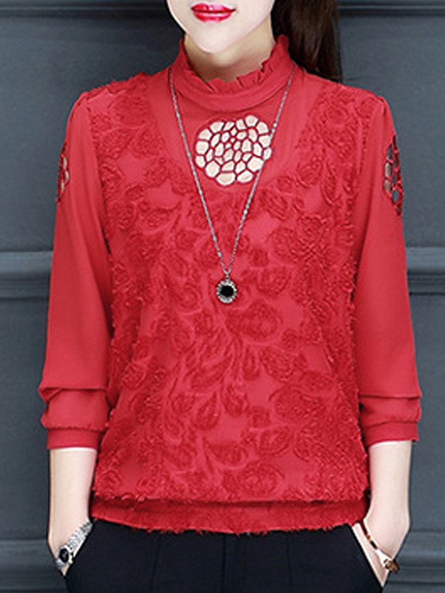 Fashion hollow half-high collar long-sleeved Blouse - from $23.95