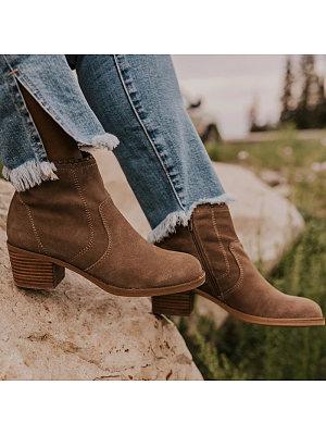 Women's Comfortable Mid Heel Casual Low Boots, 10674966