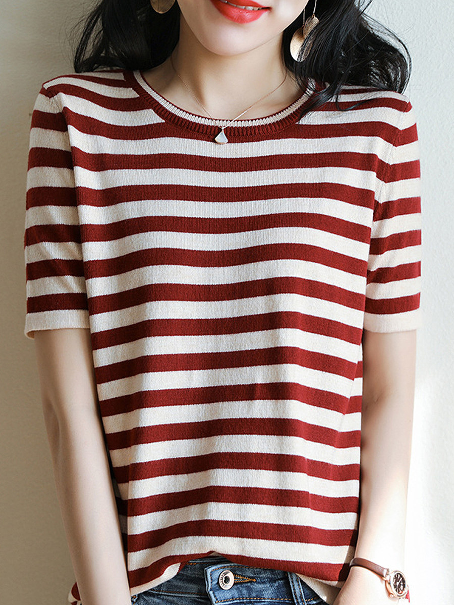 BerryLook Round Neck Striped Short Sleeve Knit Pullover