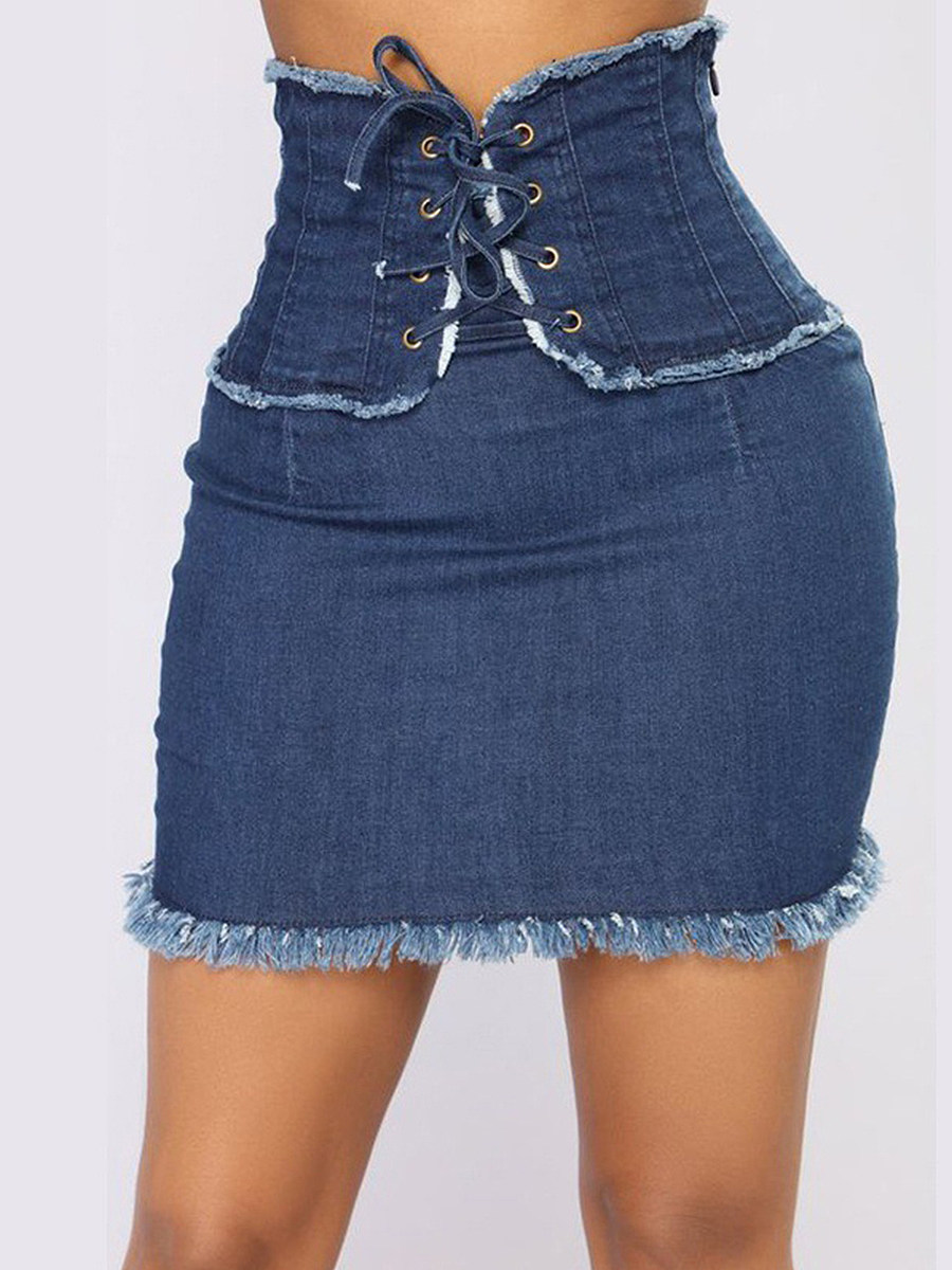 BerryLook High-waist lace-up stretch denim skirt