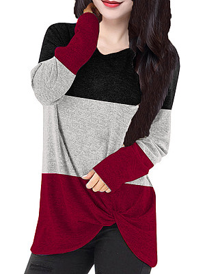 Round Neck Color Block Long Sleeve T-Shirt, 11255150