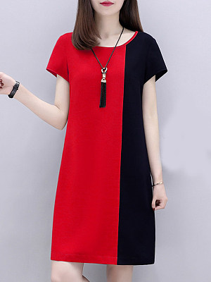 Round Neck Color Block Shift Dress фото