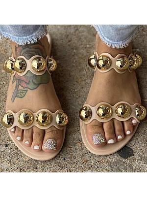 Women's flat bottom metal decorative slippers, 24080849