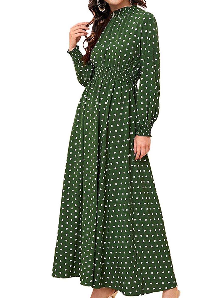 Long Sleeve Elastic Waist Polka Dot Dress