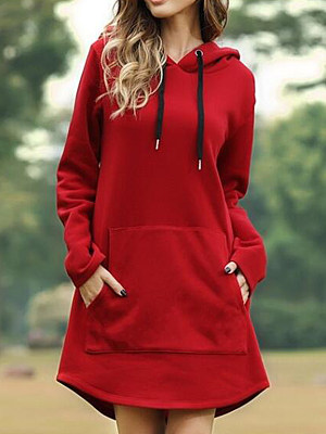 Solid Color Pocket Long Sleeve Hoodie Dress gender:woman, season:autumn,summer,spring, length:middle skirt, collar:sweater with hood, material:cotton blend, sleeve_length:long sleeve, sleeve_type:regular sleeve, style:japanese and korean style, laundry_guide:cold hand wash, dress_occasion:daily,leisure, shoulder width:47,bust:118,length:102,sleeve length:63,