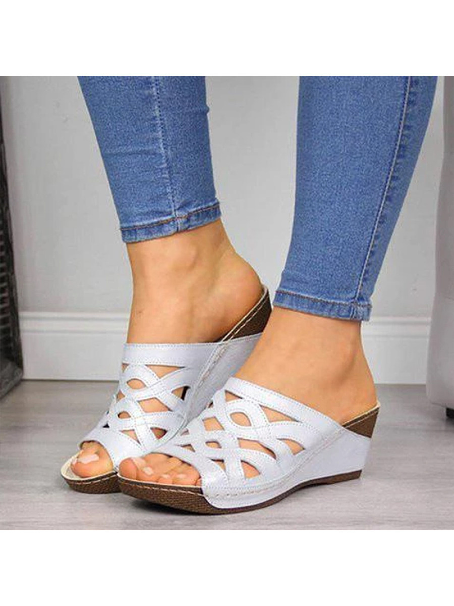 Women Casual Solid Color Hollow Out Sandals