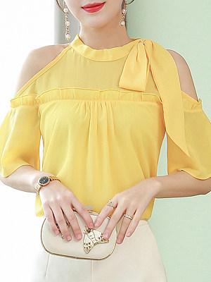 Open Shoulder Plain Short Sleeve Blouse, 11339008