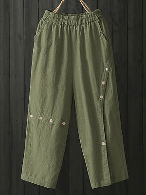 Solid Color Button Elastic Waist Loose Pants фото