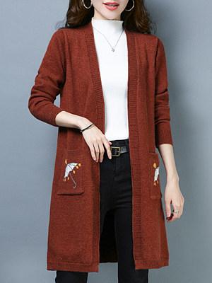 Elegant Printed Long Sleeve Knit Cardigan, 10120120