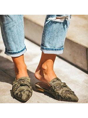 Fashion ladies camouflage pointed low-heel slippers, 10683758