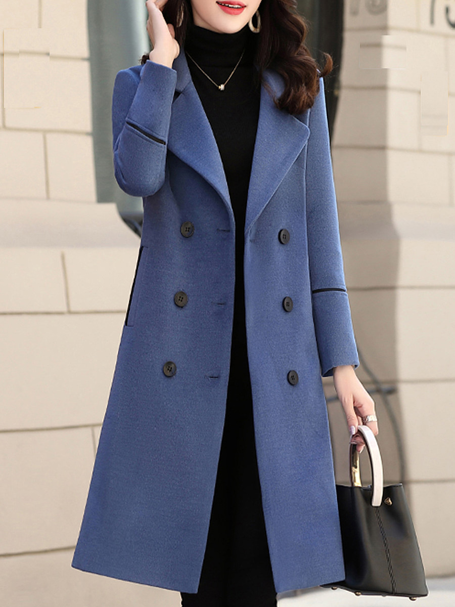 Ladies Elegantly Folded Collar Solid Color Coat - from $32.95