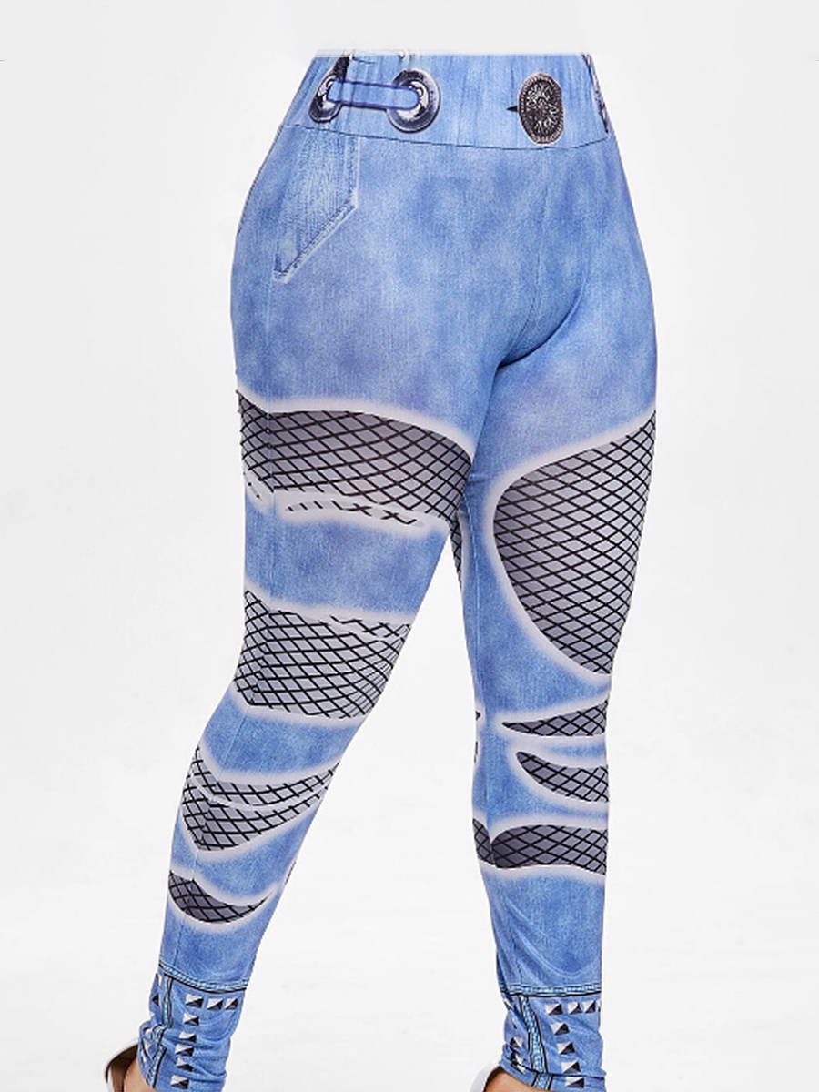 Digital printed high-waist imitation denim trousers and leggings