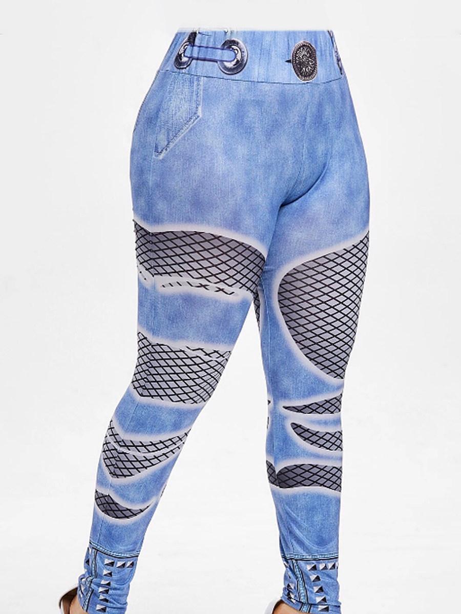 BerryLook Digital printed high-waist imitation denim trousers and leggings
