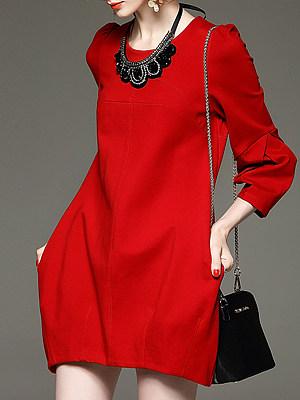 Round Neck Patch Pocket Plain Shift Dress, 10219299