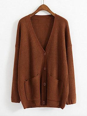 V Neck Plain Long Sleeve Knit Cardigan