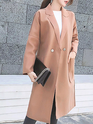 Women's Loose Double-Breasted Solid Color Long Sleeve Woolen Coat gender:female, season:autumn,winter,spring, collar:lapel collar, texture:woolen, sleeve_length:long sleeve, sleeve_type:regular sleeve, style:japan and south korea, collar_type:fold collar, design:double breasted, dress_occasion:daily, bust:108,clothing length:82,shoulder width:41,