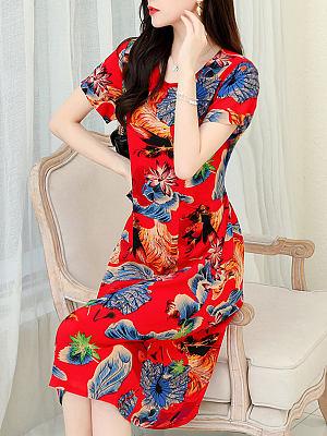 Berrylook Round Neck Print Short Sleeves Shift Dress online, shoppers stop, shift dress, floral shift dress