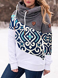 Image of Long-Sleeved Contrast Color Pullover Print Sweatshirt