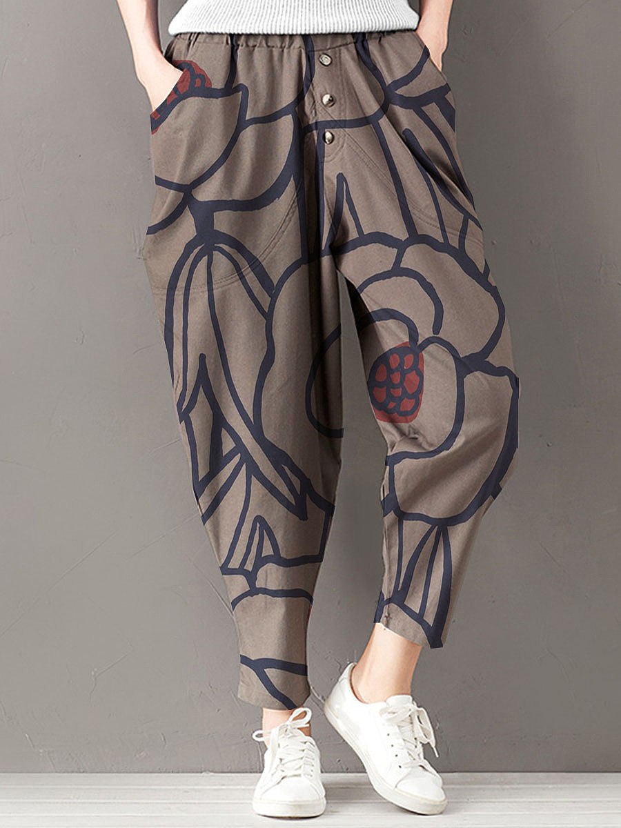 Fashionable loose cotton and linen printed wide-leg pants