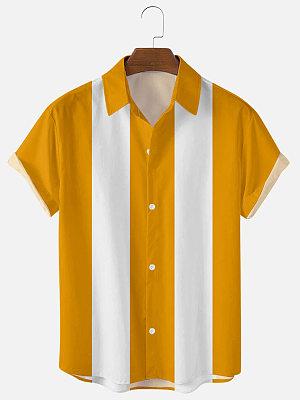 Mens Yellow Print Casual Summer Shirts
