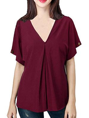 V Neck Plain Short Sleeve Blouse, 11572349