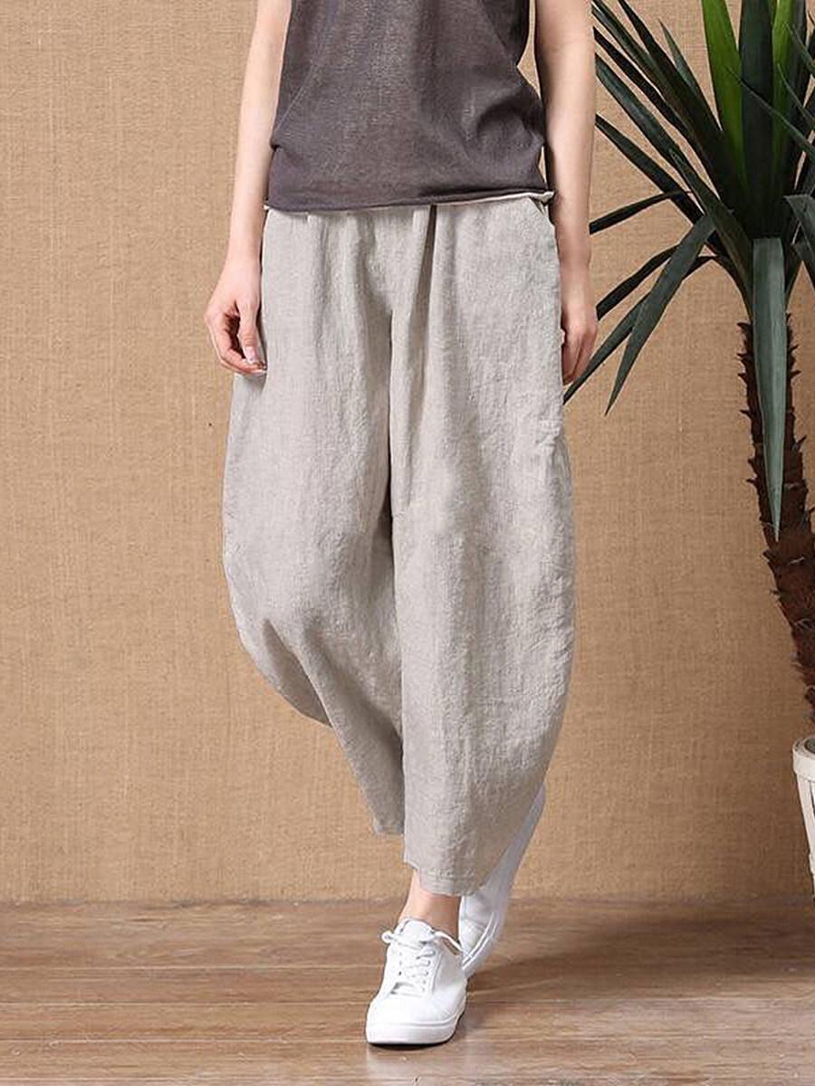 Women's cotton and linen nine points loose elastic waist wide leg pants casual pants