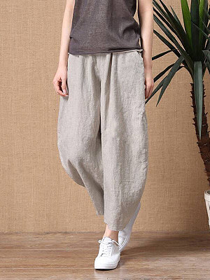 Berrylook coupon: Women's cotton and linen nine points loose elastic waist wide leg pants casual pants