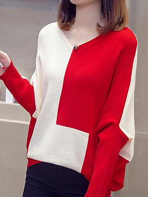 V Neck Elegant Batwing Sleeve Knit Pullover, 10569230