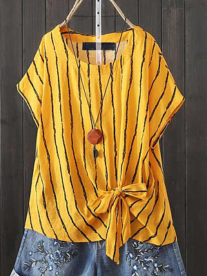 Round Neck Striped Short Sleeve Linen Blouse, 11554446