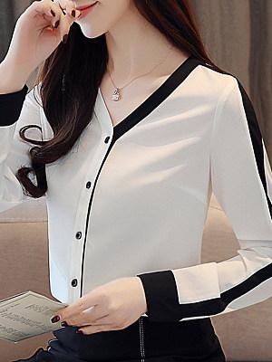 Fashion Color-Block V-neck Long Sleeve Blouse, 11300628