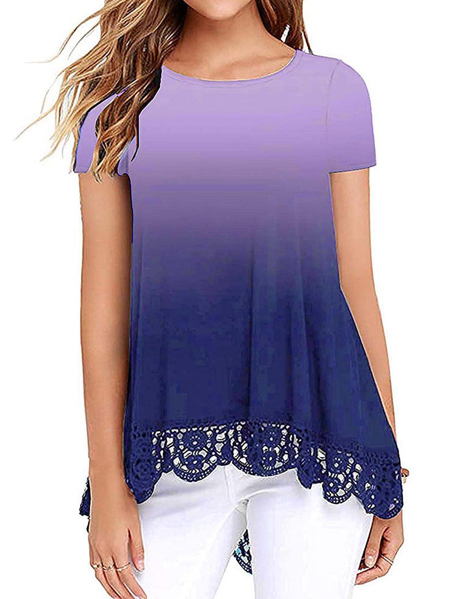 BerryLook Round Neck Print Lace Patchwork Short Sleeve T-shirt