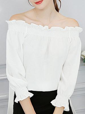 Open Shoulder Plain Half Sleeve Blouse