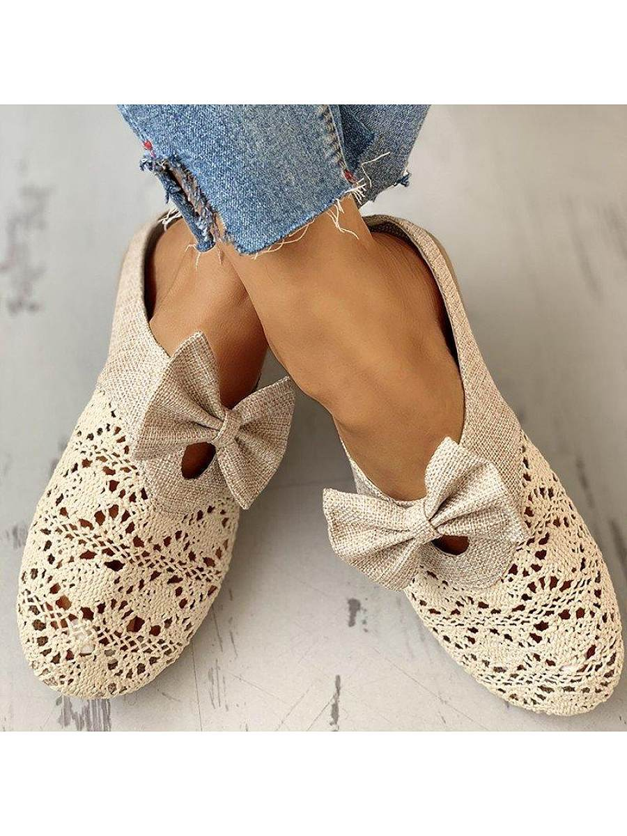 BerryLook Hollow bow linen half slippers