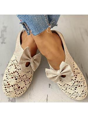 Hollow bow linen half slippers, 23532887