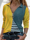 Image of Turn Down Collar Striped Zip-up Long Sleeve T-shirt